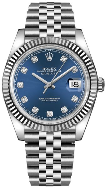 Rolex Datejust 41 Blue Diamond Dial Gold & Steel Watch 126334-0016