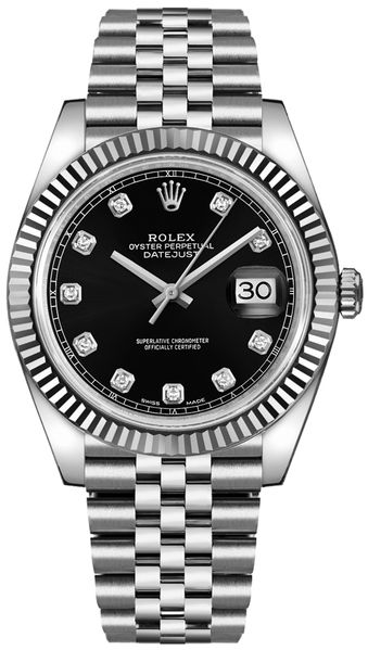 Rolex Datejust 41 Black Diamond Men's Watch 126334-0012