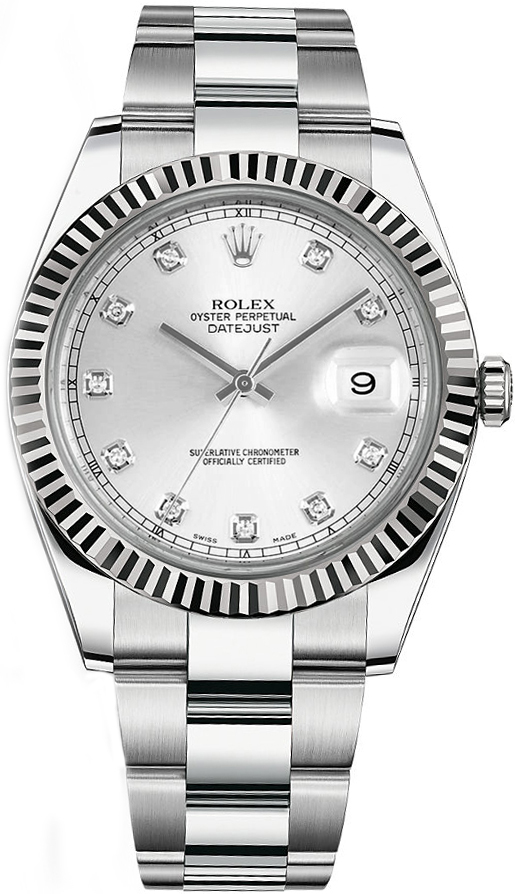 dc492b5f1ec Rolex Datejust 41 Silver Diamond Men s Watch 126334 - image 0 ...
