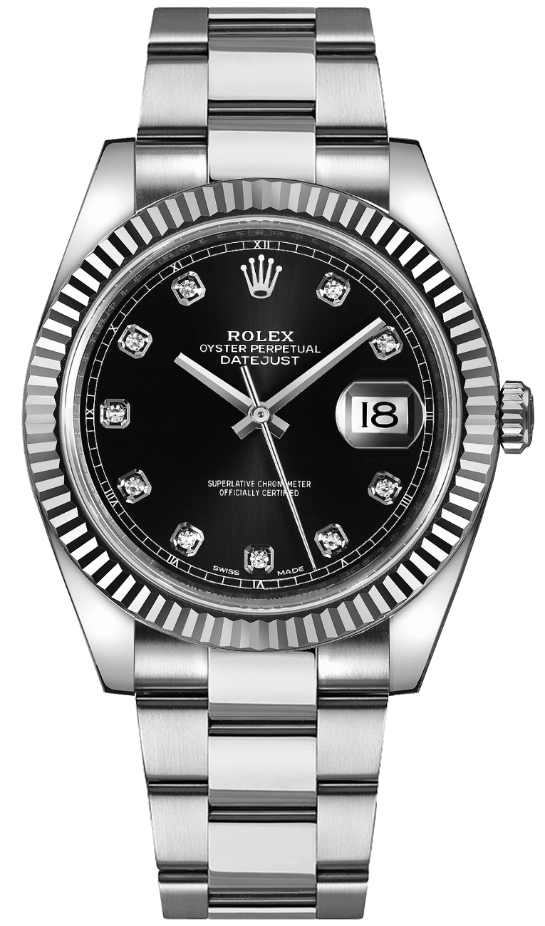 Rolex Datejust 41 Black Diamond Dial Men\u0027s Watch 126334