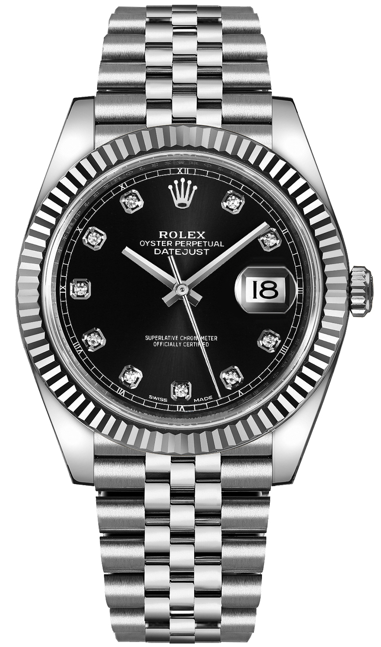 Rolex Datejust 41 Black Diamond Men's Watch 126334