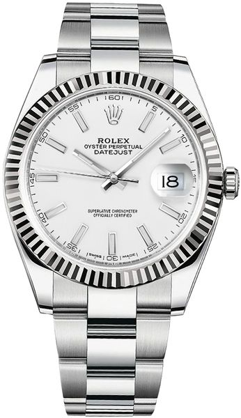 Rolex Datejust 41 White Dial Gold & Steel Men's Watch 126334