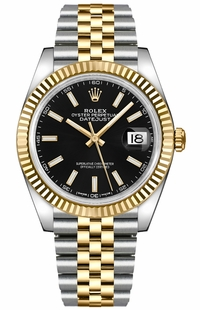 Rolex Datejust 41 Black Dial Men's Gold & Steel Watch 126333-0014