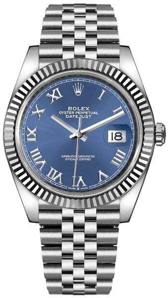 Rolex Datejust 41 Blue Roman Numeral Dial Men's Watch 126334