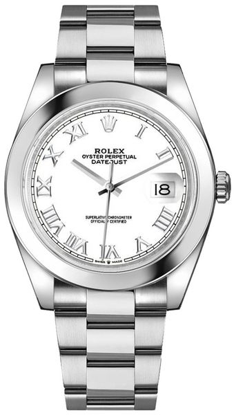 Rolex Datejust 41 White Roman Dial Men's Watch 126300-0015