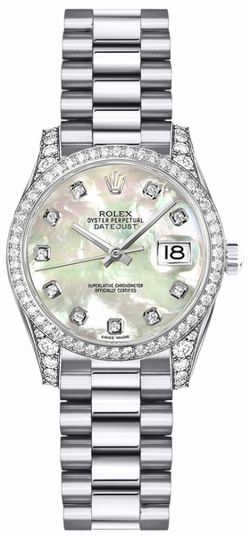 Rolex Lady-Datejust 26 Mother of Pearl Diamond Dial Gold Watch 179159