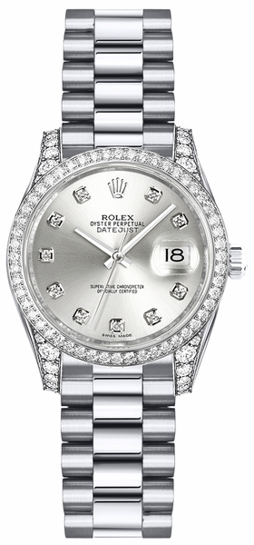 Rolex Lady-Datejust 26 Silver Diamond Dial White Gold Watch 179159