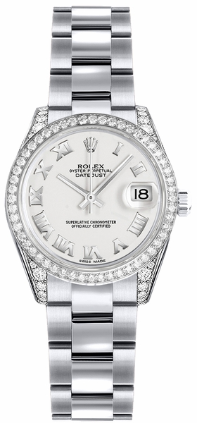 Rolex Lady-Datejust 26 White Roman Numeral Dial Watch 179159