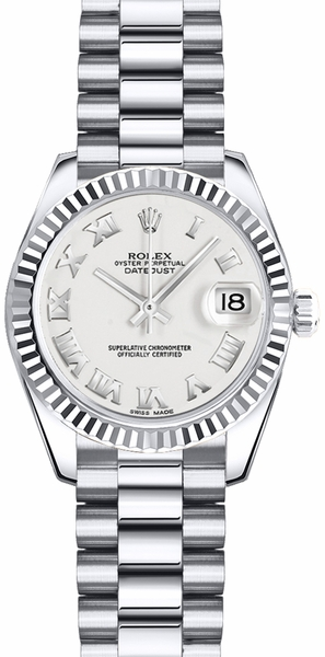Rolex Lady-Datejust 26 White Roman Numeral Dial Watch 179179