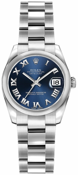 Rolex Lady-Datejust 26 Blue Roman Numeral Dial Watch 179160
