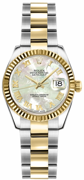 Rolex Lady-Datejust 26 Mother of Pearl Roman Numeral Oyster Bracelet Watch 179173