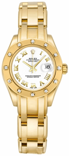 Rolex Pearlmaster Solid 18k Gold Diamond Women's Watch 80318