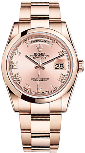 Rolex Day Date 36 Pink Dial Gold Watch 118205
