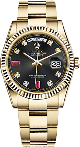 118238 blkdo rolex day date 36 black dial watch for Rolex day date 36