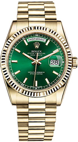 c2f4fa08bc46 Rolex Day-Date 36 Green Dial Solid Gold Watch 118238