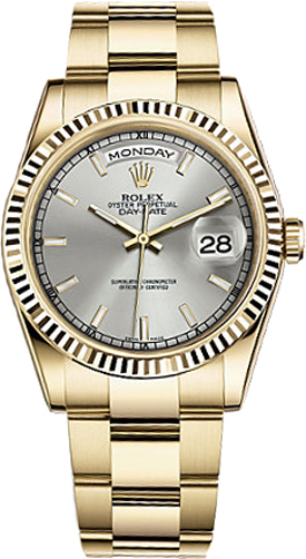 118238 slvso rolex day date 36 silver dial watch for Rolex day date 36