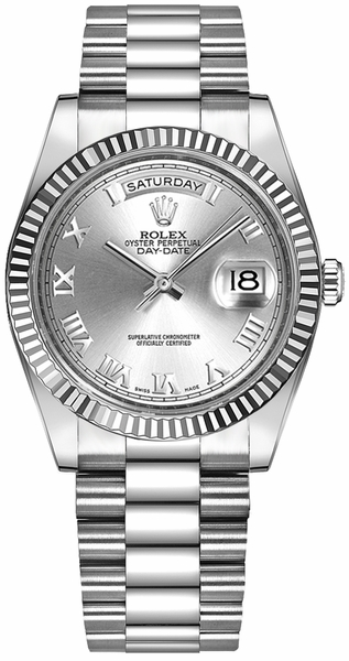 Rolex Day-Date 36 Silver Roman Numeral Gold Watch 118239