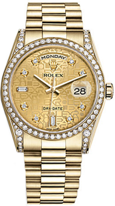 Rolex Day Date 36 Champagne Jubilee Diamond Gold Watch 118388