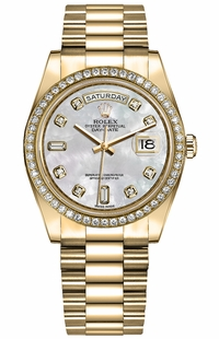 Rolex Day-Date 36 18k Yellow Gold Diamonds Women's Watch 128348RBR