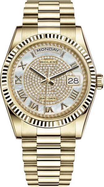 Rolex Day-Date 36 Automatic Solid 18k Gold Diamond Watch 118238-0123