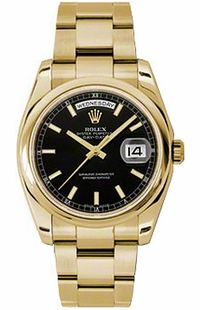Rolex Day-Date 36 Black Dial Solid Gold Watch 118208