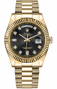 Rolex Day-Date 36 Black Diamond Dial Solid Gold Watch 118238