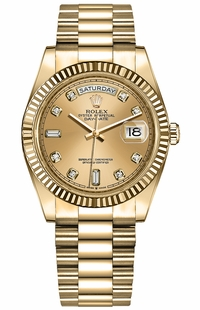 Rolex Day-Date 36 Champagne Diamond Dial Women's Watch 128238