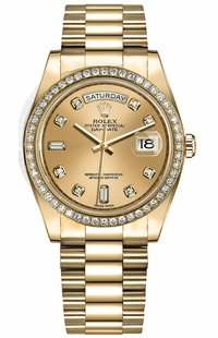 Rolex Day-Date 36 Champagne Diamond Dial Women's Watch 128348RBR