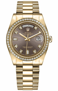 Rolex Day-Date 36 Diamond Hour Markers Women's Watch 128348RBR