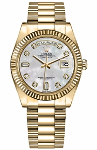 Rolex Day-Date 36 Fluted Bezel President Bracelet Women's Watch 128238