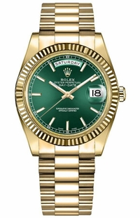Rolex Day-Date 36 Green Dial Solid Gold Watch 118238