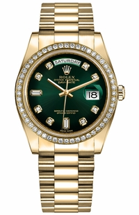 Rolex Day-Date 36 Green Ombre Dial Women's Watch 128348RBR