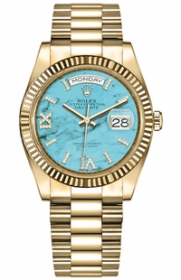 Rolex Day-Date 36 Turquoise Dial Women's Watch 128238