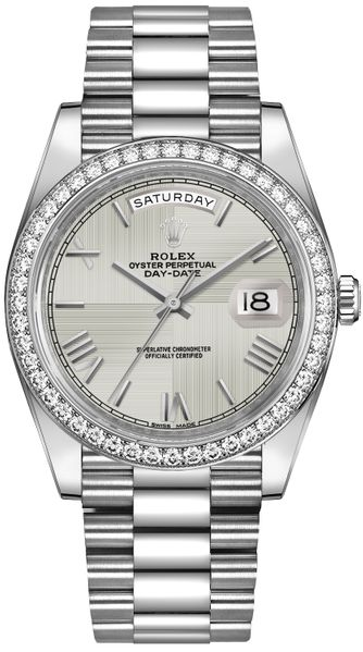 Rolex Day-Date 40 Silver Dial Men's Watch 228349RBR