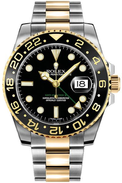 Rolex GMT-Master II Two Tone Black Dial Men's Watch 116713LN