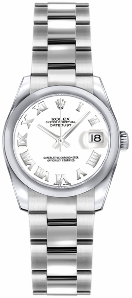 Rolex Lady-Datejust 26 Oyster Bracelet White Dial Watch 179160