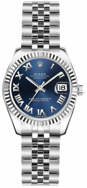 Rolex Lady-Datejust 26 Blue Roman Numeral Dial Watch 179174
