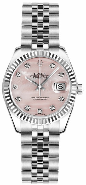 Rolex Lady-Datejust 26 Pink Mother of Pearl Dial Watch 179174