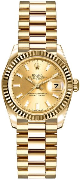 Rolex Lady-Datejust 26 Solid 18k Yellow Gold Women's Watch 179178