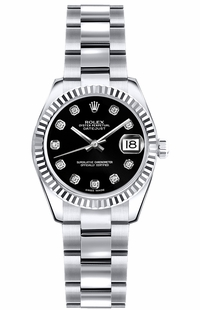 Rolex Lady-Datejust 26 Black Diamond Dial Watch 179179