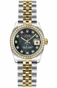 Rolex Lady-Datejust 26 Black Mother of Pearl Women's Watch 179383