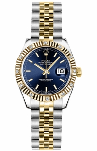 Rolex Lady-Datejust 26 Blue Dial Gold & Steel Watch 179313