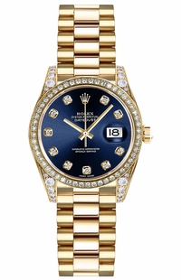 Rolex Lady-Datejust 26 Blue Diamond Dial Gold Watch 179158