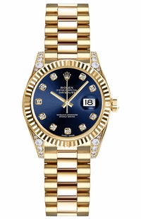 Rolex Lady-Datejust 26 Blue Diamond Dial Gold Watch 179238