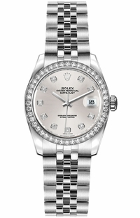 Rolex Lady-Datejust 26 Diamond Silver Dial Women's Watch 179384