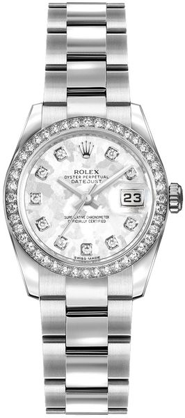Rolex Lady-Datejust 26 Grey Gold Crystal Dial Women's Watch 179384