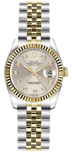 Rolex Lady-Datejust 26 Ivory Sunbeam Dial Women's Watch 179173