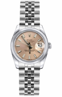 Rolex Lady-Datejust 26 Pink Dial Steel Watch 179160