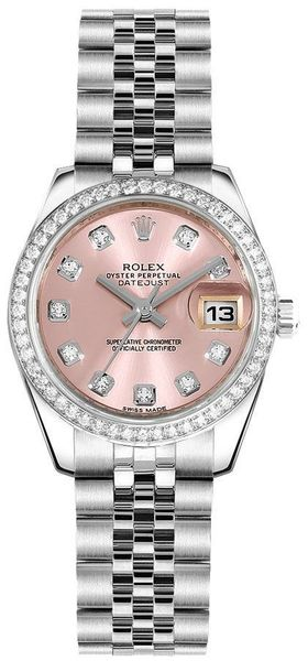 Rolex Lady-Datejust 26 Pink Dial Women's Watch 179384