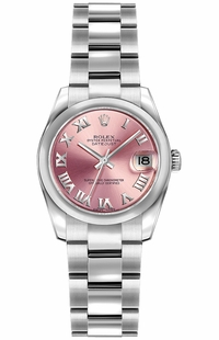 Rolex Lady-Datejust 26 Pink Roman Numeral Oyster Bracelet Watch 179160